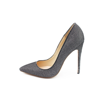Mesh Glitter Dresses Stiletto Heels Pointy Toe Sequined Pumps for Wide Feet
