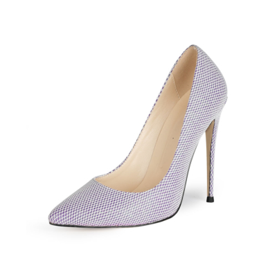 Purple Mesh Glitter Wedding Shoes 5 inches High Heel Bridal Sequin Pumps