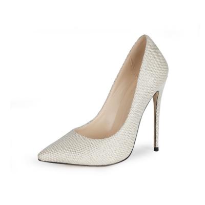 Beige Mesh Glitter Wedding Shoes 12cm High Heel Bridal Sequin Pumps