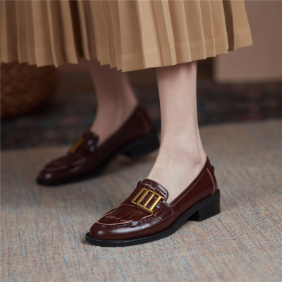 Brown Metal Buckle Leather Loafers Women's Shoes with Low Heel