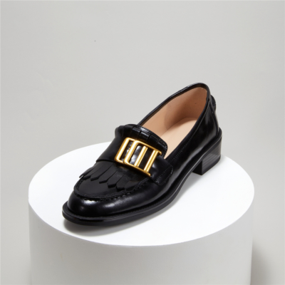 Metal Buckle Leather Loafers Women's Shoes with Low Heel