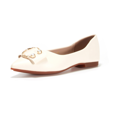 Metal Buckle Matte Flat Shoes Pointed Toe Women Flats for Work