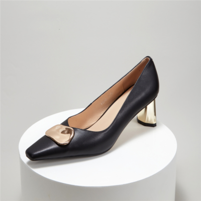 Metal Buckle Mid-heel Pumps Comfortable Work Shoes for Women