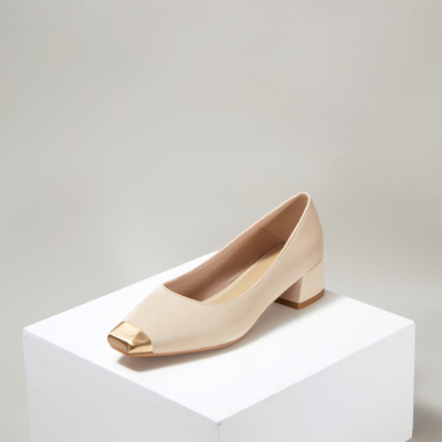 Up2step Beige Metal Cap Toe Low Heel Women's Pumps Shoes