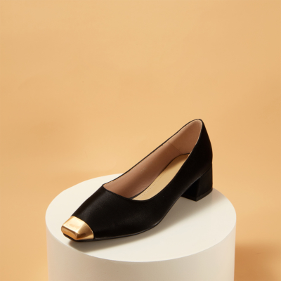 Up2step Metal Cap Toe Low Heel Women's Pumps Shoes