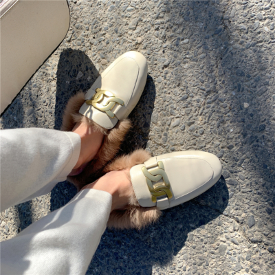 White Metal Chain Mules Flats Round Toe Loafers Slides with Fur