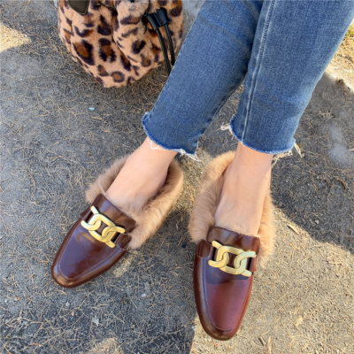 Brown Metal Chain Mules Flats Round Toe Loafers Slides with Fur
