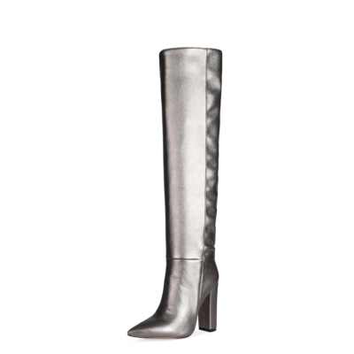 2021 Spring Metallic Slouch Boots Knee High Stretch Boots with Block Heels