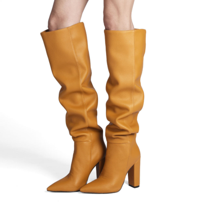 Yellow Metallic Slouch Knee High Boots Elastic Block Heels Over The Knee Boots