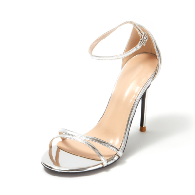 Silver Metallic Mirrow Ankle Strap Buckle Heeled Sandals