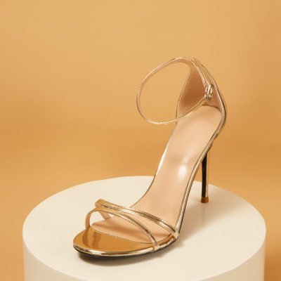 Metallic Mirrow Ankle Strap Buckle Heeled Sandals