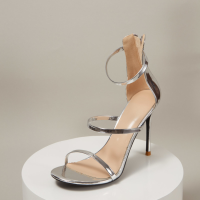 Up2step Silver Metallic Open Toe Sexy Sandals Triple Straps Heeled Sandal