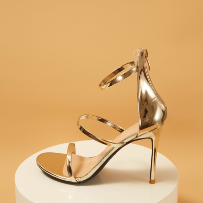 Up2step Golden Metallic Open Toe Sexy Sandals Triple Straps Heeled Sandal