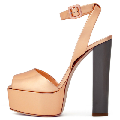 Metallic Peep Toe Block Heel Platform Buckle Sandals with Ankle Strap