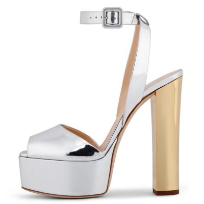 Silver Metallic Peep Toe Block Heel Platform Buckle Sandals with Ankle Strap