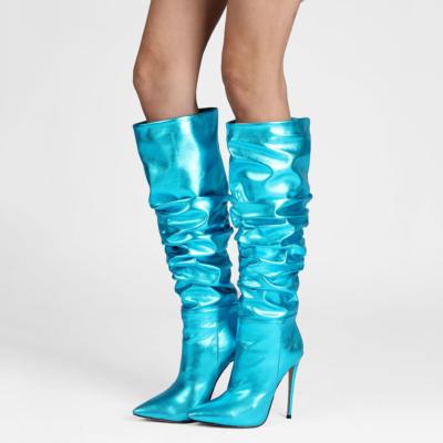 Metallic Plisse Stilettos  Over the Knee Boots