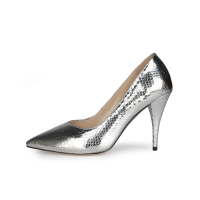 Metallic Snake Printed Pumps Slip-on Women's Shoes with Stiletto Heels