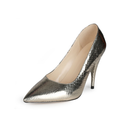 Golden Metallic Snake Printed Pumps Slip-on Women's Shoes with 4 inch Heels