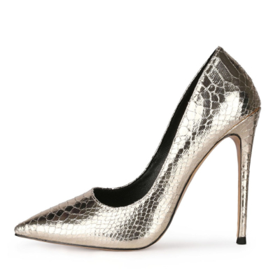 Golden Metallic Snake Printed Pumps Slip-on Women's Shoes with 5 inch Stiletto Heels