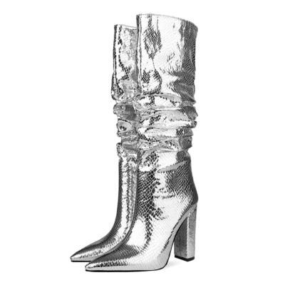 Metallic Snake Effect Slouchy Pointy Toe Knee High Boots