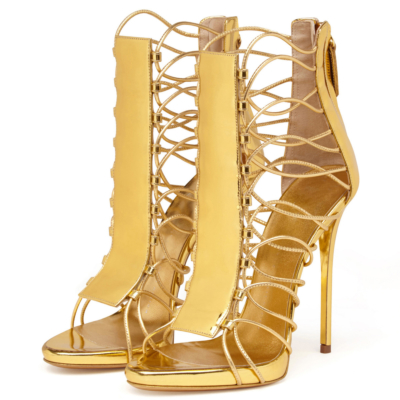 Metallic Strappy Open Toe Stiletto Sandals Back Zipper 5 inch Heels