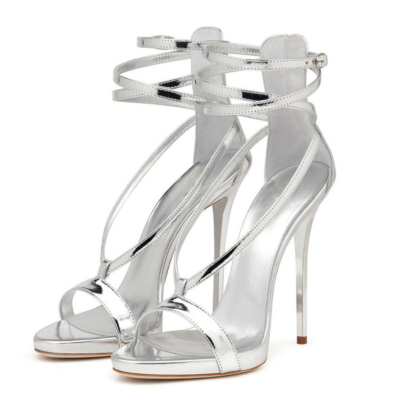 Metallic Strappy Wrap Heels Party Sandals Stiletto Heel Shoes