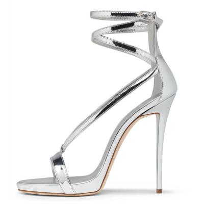 Silver Metallic Strappy Wrap Heels Party Sandals Stiletto Heel Shoes