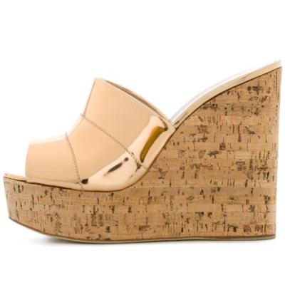 Metallic Women's Slide Sandals with Wooden Wedge Heels in Golden