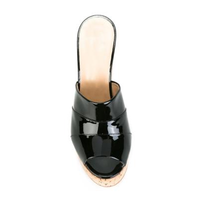 Metallic Women's Slide Sandals with Wooden Wedge Heels in Black