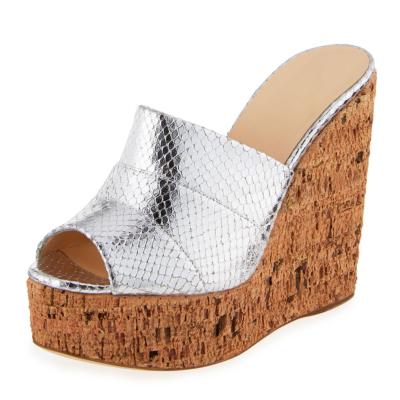 Metallic Women's Slide Sandals with Wooden Wedge Heels in Silver