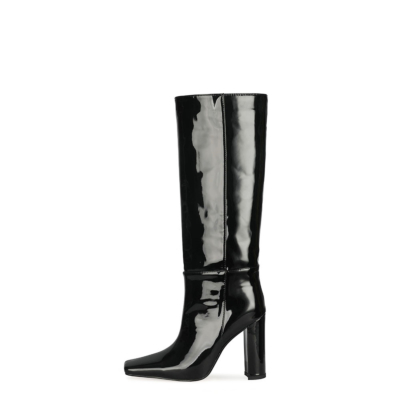 Black Mirror Block Heel Tall Boots Fall Knee High Boots with Sqaure Toe