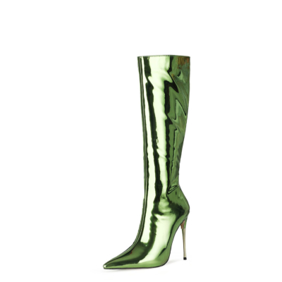 Mirror Long Knee High Boots Metallic Stiletto Heel Shiny Dress Boots