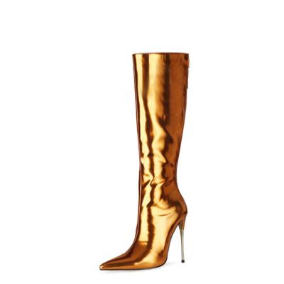 Golden Mirror Long Knee High Boots Metallic Stiletto Heel Shiny Dress Boots