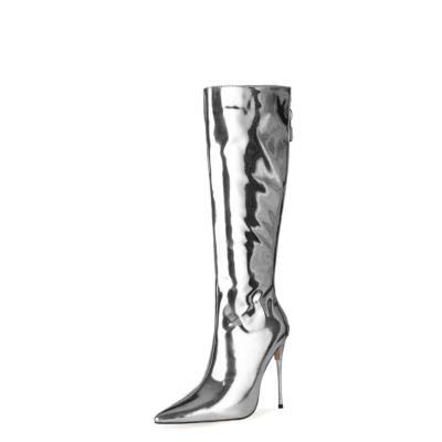 Silver Mirror Long Knee High Boots Metallic Stiletto Heel Shiny Dress Boots