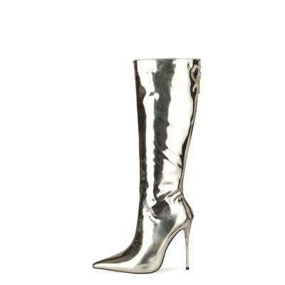 Light GoldenMirror Long Knee High Boots Metallic Stiletto Heel Shiny Dress Boots