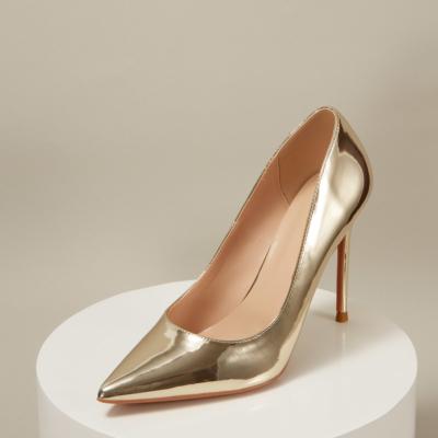 Golden Mirrowed Leather Pointed Toe Stiletto Heels Office Pumps