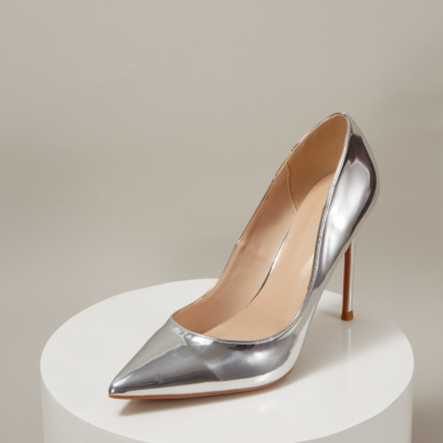 Silver Mirrowed Leather Pointed Toe Stiletto Heels Office Pumps
