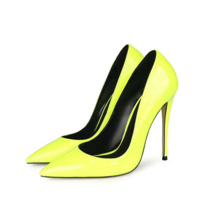 Neon Lime Patent Leather Heeled Pumps Summer Women's Court High Heels