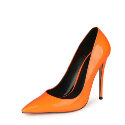 Neon Orange Patent Leather Patent Leather Heeled Pumps Summer Women's Court High Heels
