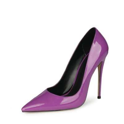 Neon Purple Patent Leather Patent Leather Heeled Pumps Summer Women's Court High Heels