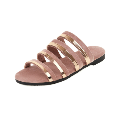 Pink Multi Strap Flat Slide Sandals Metallic&Suede Beach Sandals Flat For Travel
