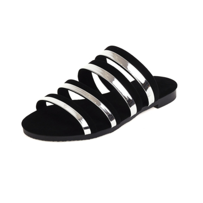 Multi Strap Flat Slide Sandals Metallic&Suede Beach Sandals Flat For Travel
