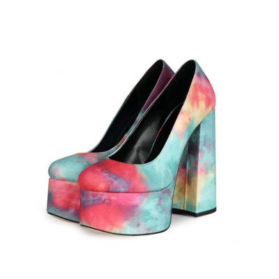 Multicolor Printed High Heel Platform Pumps Shoes with Round Toe