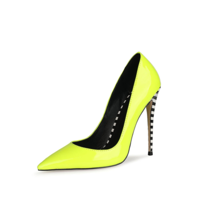 Neon Yellow Patent Leather Heeled Pumps Pointed Toe Stiletto Heels Shoes