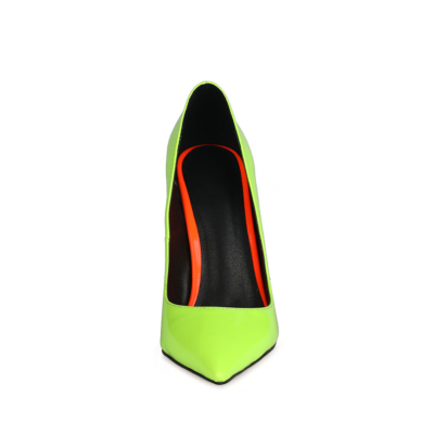 Neon Green Heeled Pumps Pointed Toe Stiletto Heels Shoes for Women