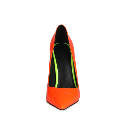 Neon Orange&Yellow Heeled Pumps Pointed Toe Stiletto Heels Shoes for Women