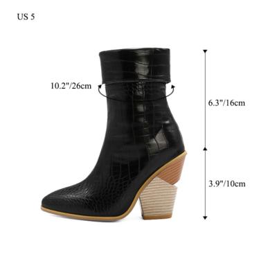 Non Slip Python Print Chuny Heel Short Ankle Boots