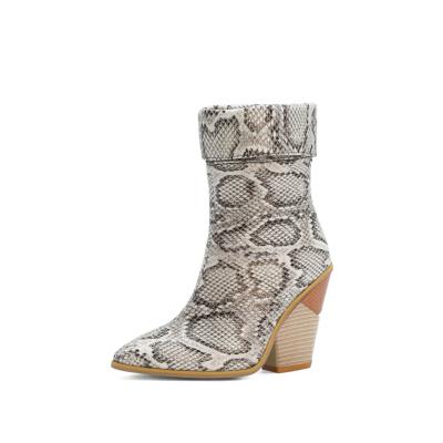 White Non Slip Python Print Chuny Heel Short Ankle Boots
