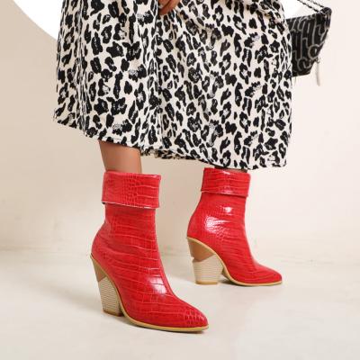 Red Non Slip Python Print Chuny Heel Short Ankle Boots