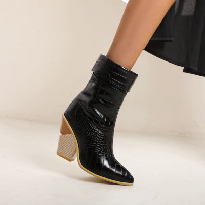 Black Non Slip Python Print Chuny Heel Short Ankle Boots